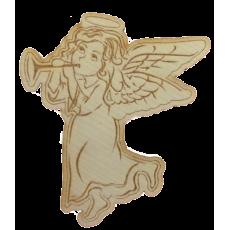 Magnetka drevená gravírovaná Anjelik s Trúbkou