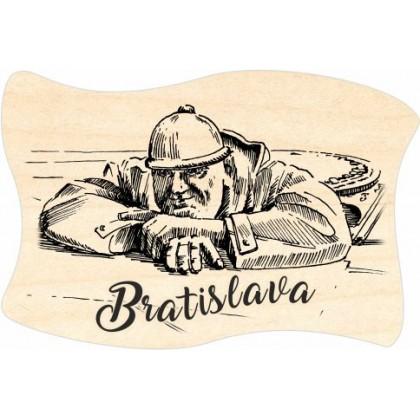 Magnetka drevená Bratislava 10 vlajka