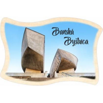 Magnetka drevená vlajka Banská Bystrica 03