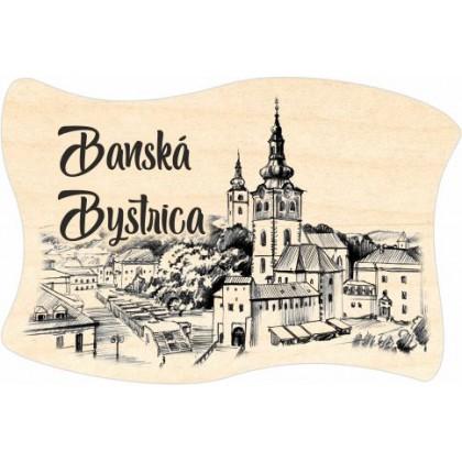 Magnetka drevená vlajka Banská Bystrica 04