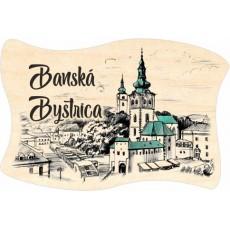 Magnetka drevená vlajka Banská Bystrica 05