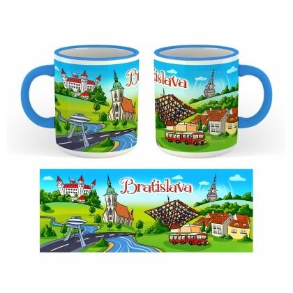 Suvenír šálka Bratislava 03 s farebným okrajom